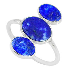 7.13cts natural blue lapis lazuli 925 sterling silver ring size 8.5 r88137