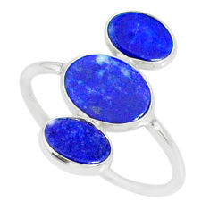 7.05cts natural blue lapis lazuli 925 sterling silver ring size 10 r88139