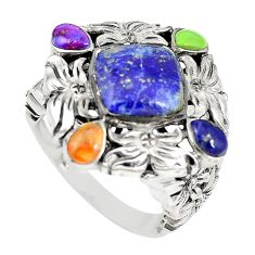 Natural blue lapis lazuli copper turquoise 925 silver ring size 6.5 c21652