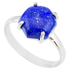 4.62cts natural blue lapis lazuli fancy 925 silver solitaire ring size 9 r83563