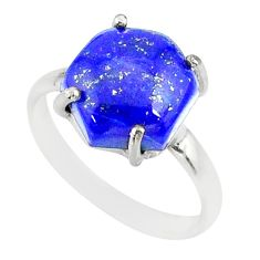 4.88cts natural blue lapis lazuli hexagon silver solitaire ring size 6 r81918