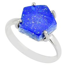 4.86cts natural blue lapis lazuli hexagon silver solitaire ring size 7 r81940