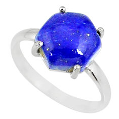 5.20cts natural blue lapis lazuli hexagon silver solitaire ring size 8 r82057
