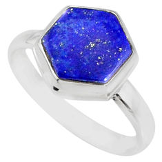 5.54cts natural blue lapis lazuli hexagon silver solitaire ring size 9 r80104