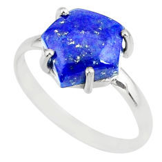 4.91cts natural blue lapis lazuli hexagon silver solitaire ring size 9 r81958