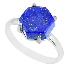 5.56cts natural blue lapis lazuli hexagon silver solitaire ring size 9 r82058