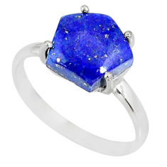 5.58cts natural blue lapis lazuli hexagon silver solitaire ring size 9 r82060