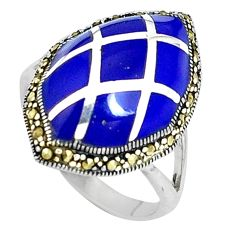 6.39cts natural blue lapis lazuli marcasite 925 silver ring size 6.5 c16330