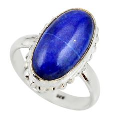 8.22cts natural blue lapis lazuli oval 925 silver solitaire ring size 8.5 r28747
