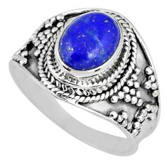 3.26cts natural blue lapis lazuli oval 925 silver solitaire ring size 8 r58251