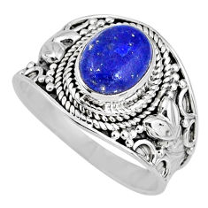 3.01cts natural blue lapis lazuli oval 925 silver solitaire ring size 8 r58260
