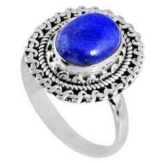 3.90cts natural blue lapis lazuli oval 925 silver solitaire ring size 8 r58660