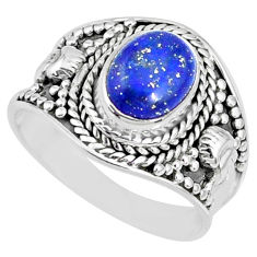 3.01cts natural blue lapis lazuli oval 925 silver solitaire ring size 8 r74701
