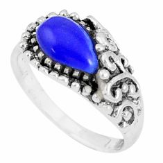 2.21cts natural blue lapis lazuli pear 925 silver ring size 6.5 a93348 c13160