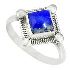 1.14cts natural blue lapis lazuli silver solitaire ring jewelry size 6 r78845