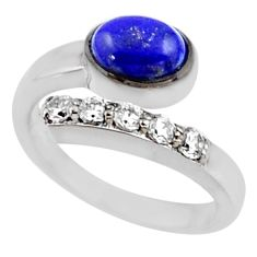 3.72cts natural blue lapis lazuli topaz 925 silver adjustable ring size 7 r54549