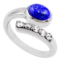 3.91cts natural blue lapis lazuli topaz 925 silver adjustable ring size 8 r54550