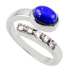 3.72cts natural blue lapis lazuli topaz 925 silver adjustable ring size 8 r54571