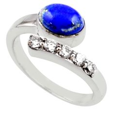 3.58cts natural blue lapis lazuli topaz 925 silver adjustable ring size 8 r54572