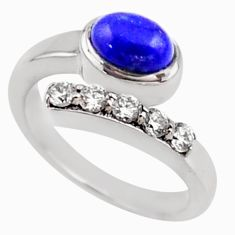 3.72cts natural blue lapis lazuli topaz 925 silver adjustable ring size 9 r54545