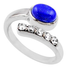 3.75cts natural blue lapis lazuli topaz 925 silver adjustable ring size 9 r54546