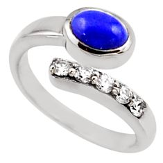 3.72cts natural blue lapis lazuli topaz 925 silver adjustable ring size 9 r54547