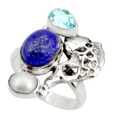 7.38cts natural blue lapis lazuli topaz 925 silver fish ring size 8 d46109