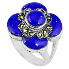 Natural blue lapis marcasite 925 sterling silver ring jewelry size 6.5 c16341