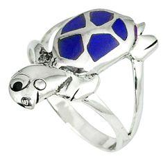 3.26gms natural blue lapis onyx enamel 925 silver tortoise ring size 8 c11925
