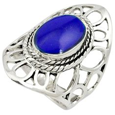Natural blue lapis oval shape 925 sterling silver ring jewelry size 6 c12326