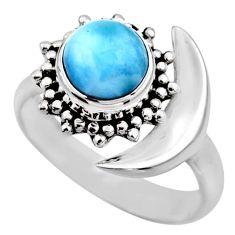 3.01cts natural blue larimar 925 silver adjustable half moon ring size 7 r53201