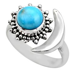 3.16cts natural blue larimar 925 silver adjustable half moon ring size 8 r53202