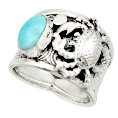 3.08cts natural blue larimar 925 silver crab solitaire ring size 7.5 r22402