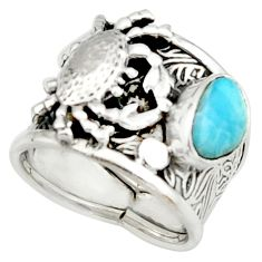 2.90cts natural blue larimar 925 silver crab solitaire ring size 7 r22404