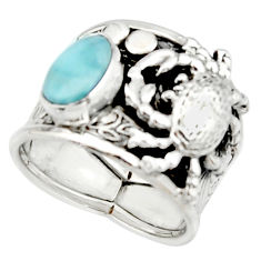 2.99cts natural blue larimar 925 silver crab solitaire ring size 7 r22405