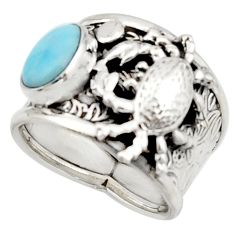 2.99cts natural blue larimar 925 silver crab solitaire ring size 8 r22398