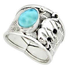 3.13cts natural blue larimar 925 silver elephant solitaire ring size 8 r22387