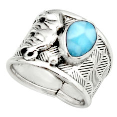 2.75cts natural blue larimar 925 silver elephant solitaire ring size 8 r22394