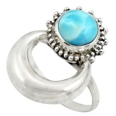 3.26cts natural blue larimar 925 silver half-moon ring jewelry size 7.5 r41602