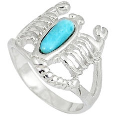 Natural blue larimar 925 silver scorpion charm ring size 6.5 a33047 c15197