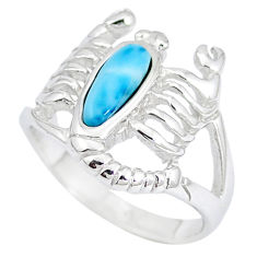 Natural blue larimar 925 silver scorpion charm ring size 6.5 a48933 c15183