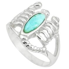Natural blue larimar 925 silver scorpion charm ring size 7.5 a74775 c13251