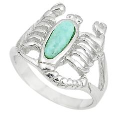 Natural blue larimar 925 silver scorpion charm ring size 6.5 a74776 c13241