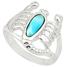 Natural blue larimar 925 silver scorpion charm ring jewelry size 7 a46898 c15200