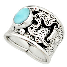 2.00cts natural blue larimar 925 silver seahorse solitaire ring size 7.5 r22383