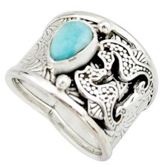 2.76cts natural blue larimar 925 silver seahorse solitaire ring size 7 r22419