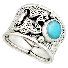 2.99cts natural blue larimar 925 silver seahorse solitaire ring size 8 r22414