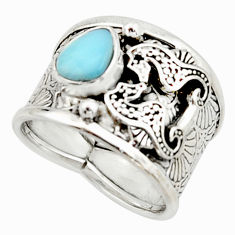 2.89cts natural blue larimar 925 silver seahorse solitaire ring size 8 r22418