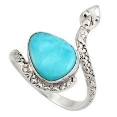 5.38cts natural blue larimar 925 silver snake solitaire ring size 8 d47445
