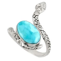 4.92cts natural blue larimar 925 silver snake solitaire ring size 9 d47442